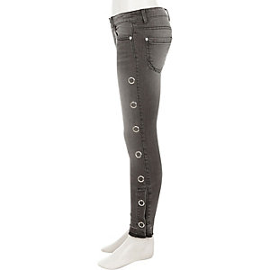 Girls black Ameile popper side skinny jeans