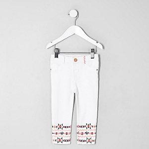 Molly – Jean blanc avec ourlet à imprimé aztèque pour mini fille