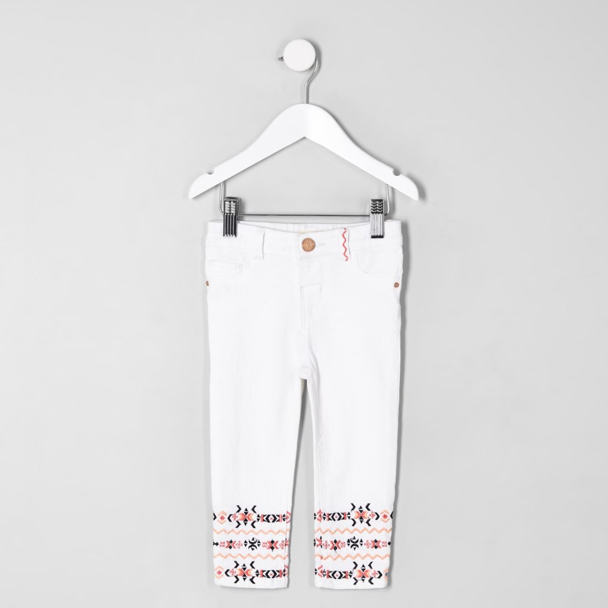Mini girls white Molly aztec print hem jeans
