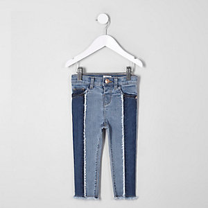 Mini girls blue Amelie panel skinny jeans