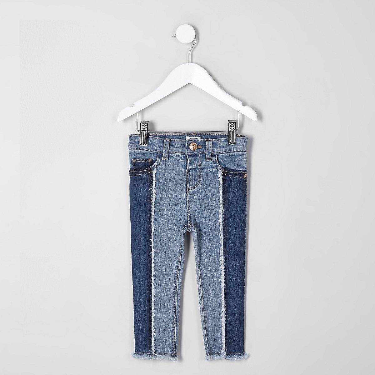 Mini girls blue Amelie panel skinny jeans