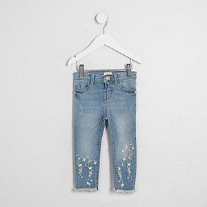 Mini - Amelie - Geborduurde jeans met bloemenprint voor meisjes