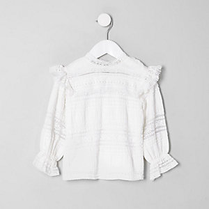 Mini girls white lace high neck fringed top