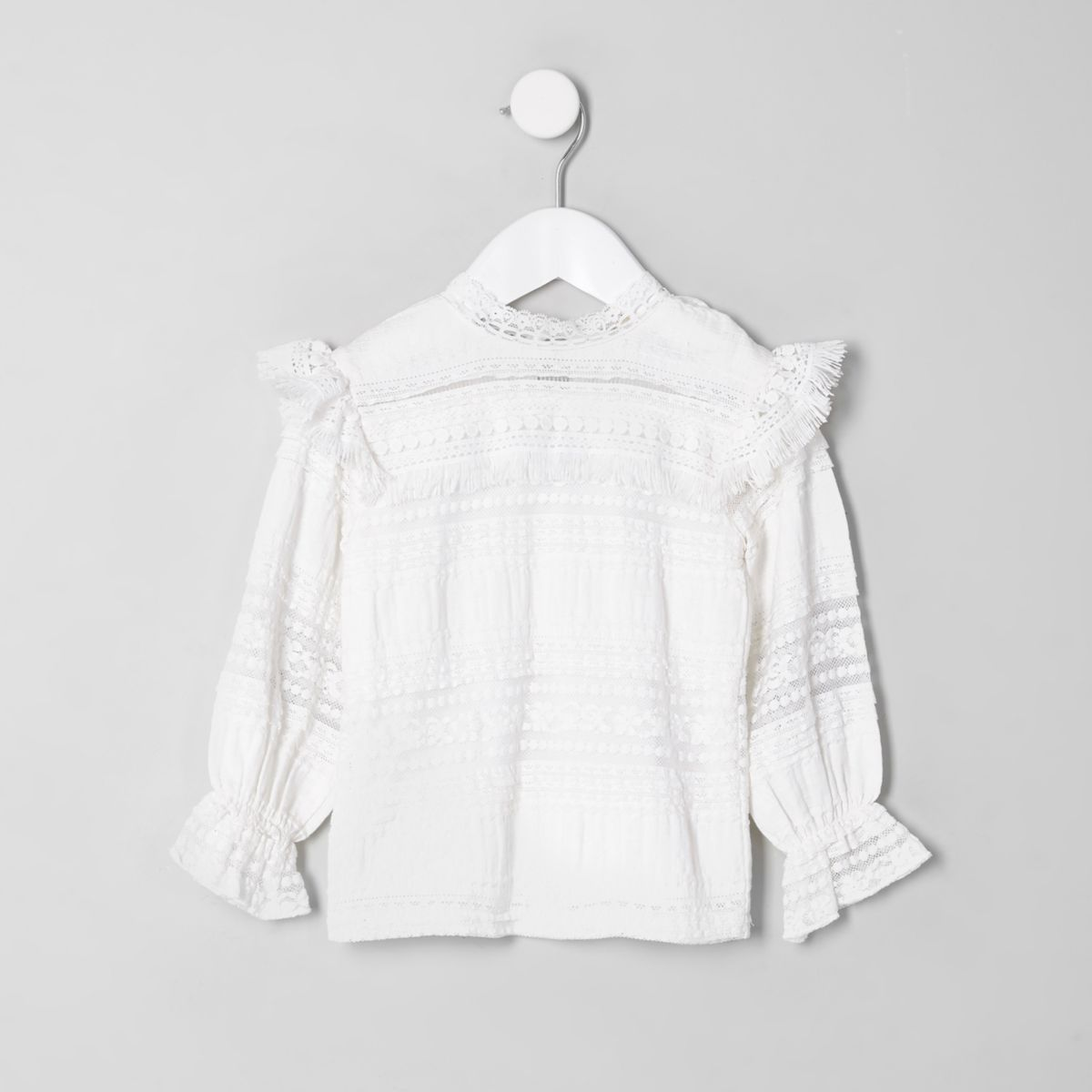 Mini girls white lace high neck fringed top
