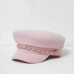 Girls pink chain trim captain's hat