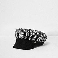 Girls black boucle baker boy hat