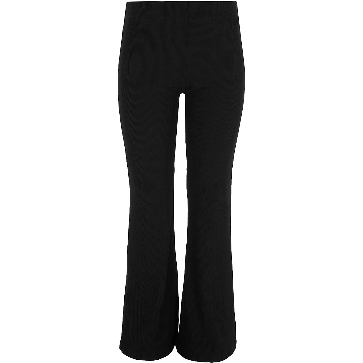 Girls black flared ribbed leggings