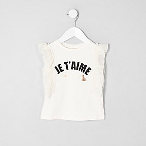 T-shirt à imprimé « T'aime » crème à volants pour mini fille