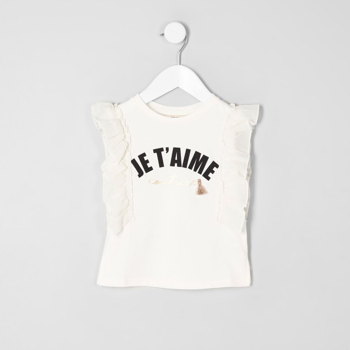 Mini girls cream 't'aime' print frill T-shirt