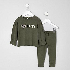 Tenue avec pantalon de jogging vert à abeilles en sequins mini fille