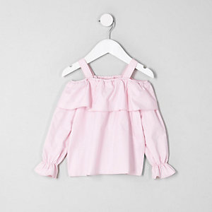 Mini girls pink frill cold shoulder top