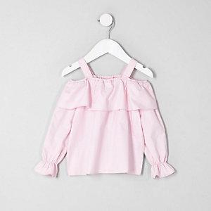 Mini - Roze schouderloze top met ruches voor meisjes