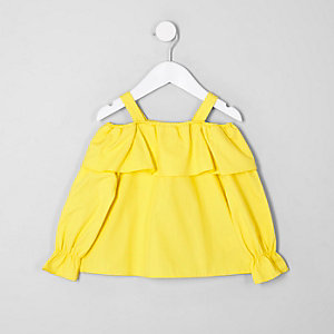 Mini girls yellow frill cold shoulder top