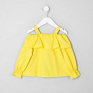 Top jaune à épaules dénudées et volants mini fille