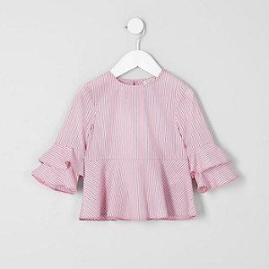 Mini - Roze gestreepte top met gelaagde mouwen voor meisjes