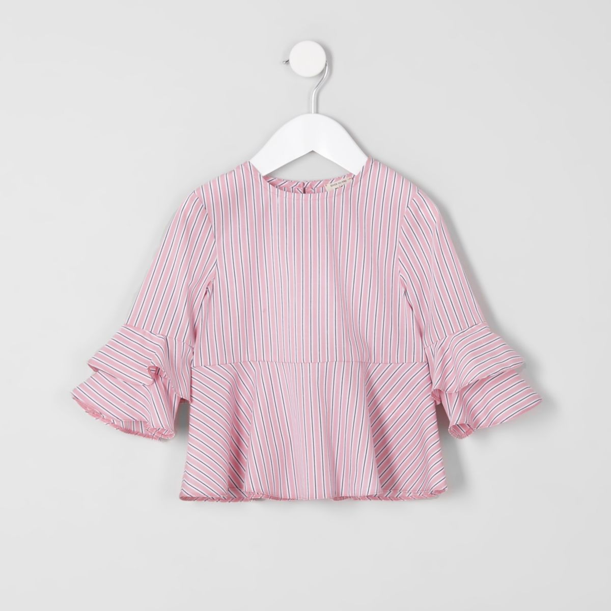 Mini girls pink stripe tiered sleeve top