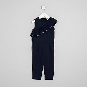 Mini girls navy asymmetric frill jumpsuit