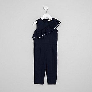Mini - Marineblauwe asymmetrische jumpsuit met ruches voor meisjes