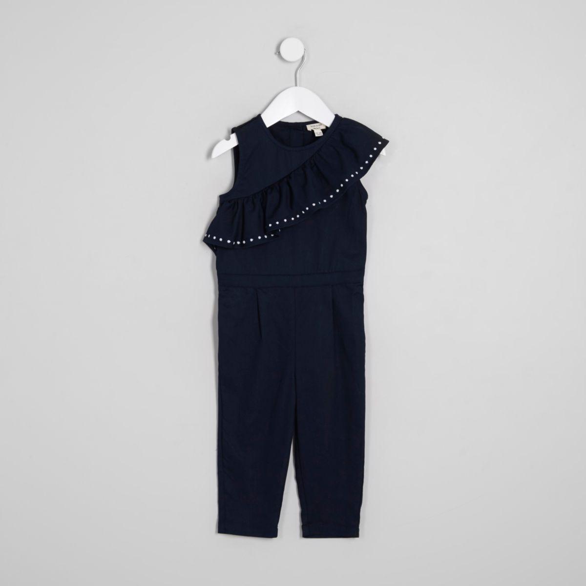 Mini girls navy asymmetric frill jumpsuit
