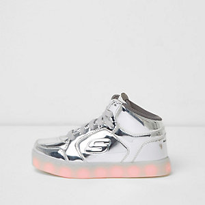 Kids Skechers silver light up hi top trainers