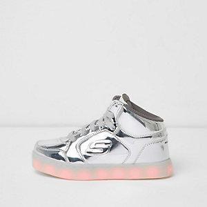 Kids Skechers - Zilverkleurige hoge lichtgevende sneakers