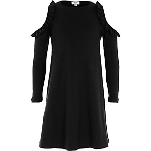 Girls black ribbed cold shoulder dress