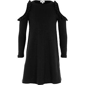 Girls black ribbed cold shoulder dress