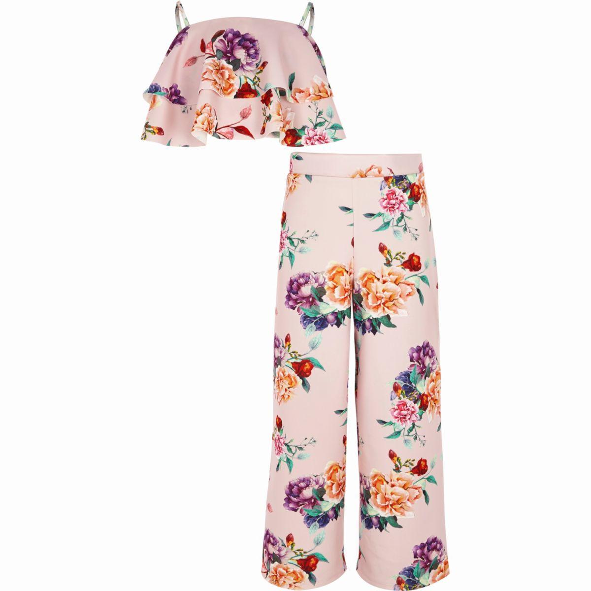 Tenue avec crop top à superpositions rose à fleurs pour fille