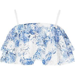 Blauwe kanten cami crop top met ruches voor meisjes