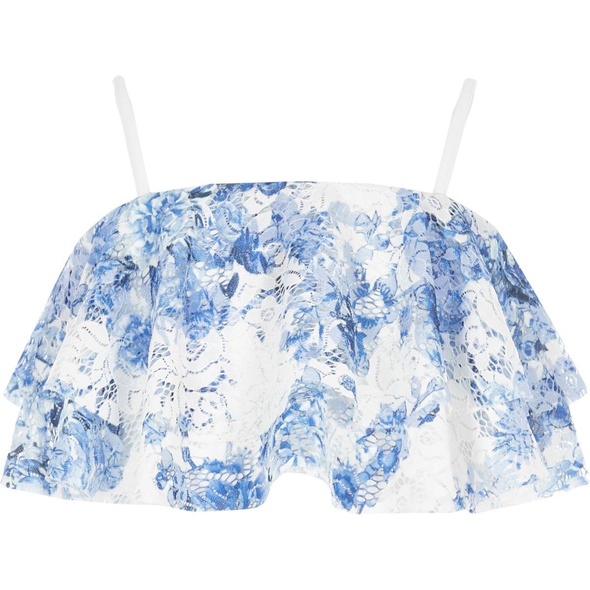 Crop top bleu à volant en dentelle et bretelles fines pour fille