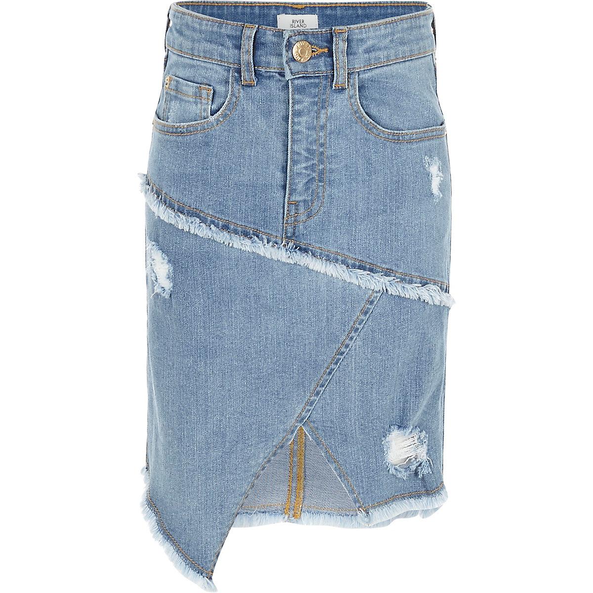 Girls blue asymmetric hem denim skirt