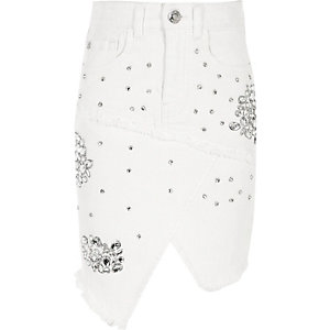 Girls white rhinestone embellished denim skirt