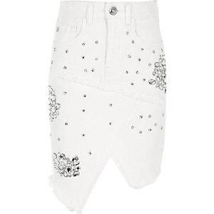 Jupe en jean blanche ornée de strass pour fille