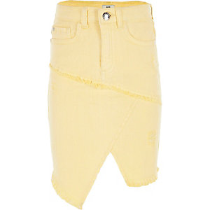 Girls yellow asymmetric denim skirt