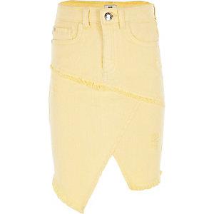 Gele asymmetrische denim rok voor meisjes