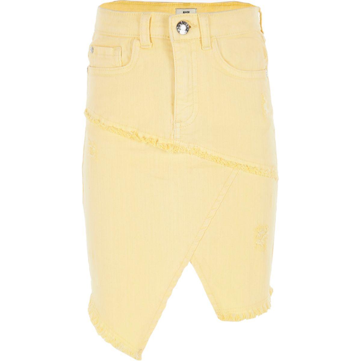 Girls yellow asymmetric denim skirt