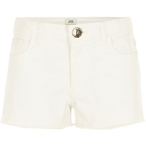 Girls white frayed denim shorts