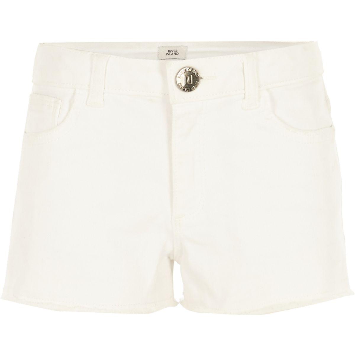 Short en jean blanc effiloché pour fille