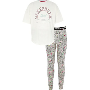 Girls grey 'sleepover' pyjama leggings set