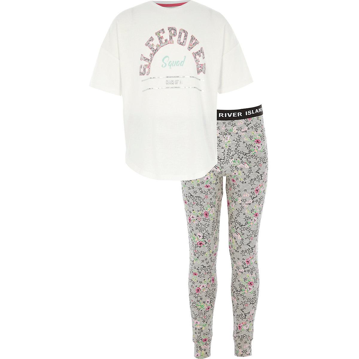Girls grey 'sleepover' pajama leggings set