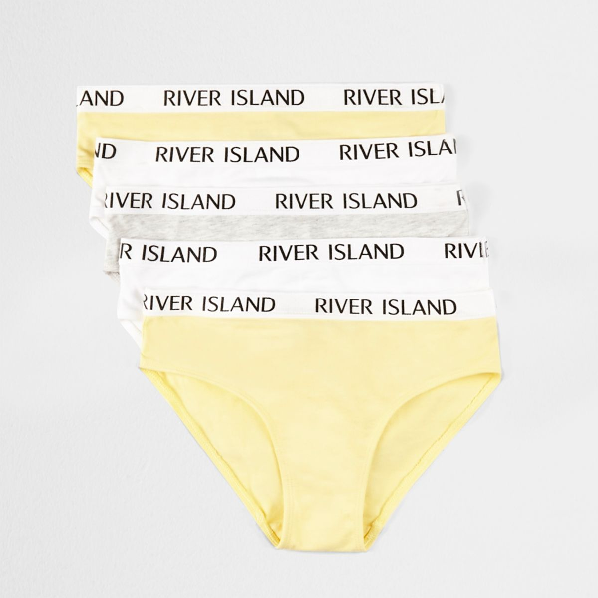 Girls yellow RI branded knickers multipack