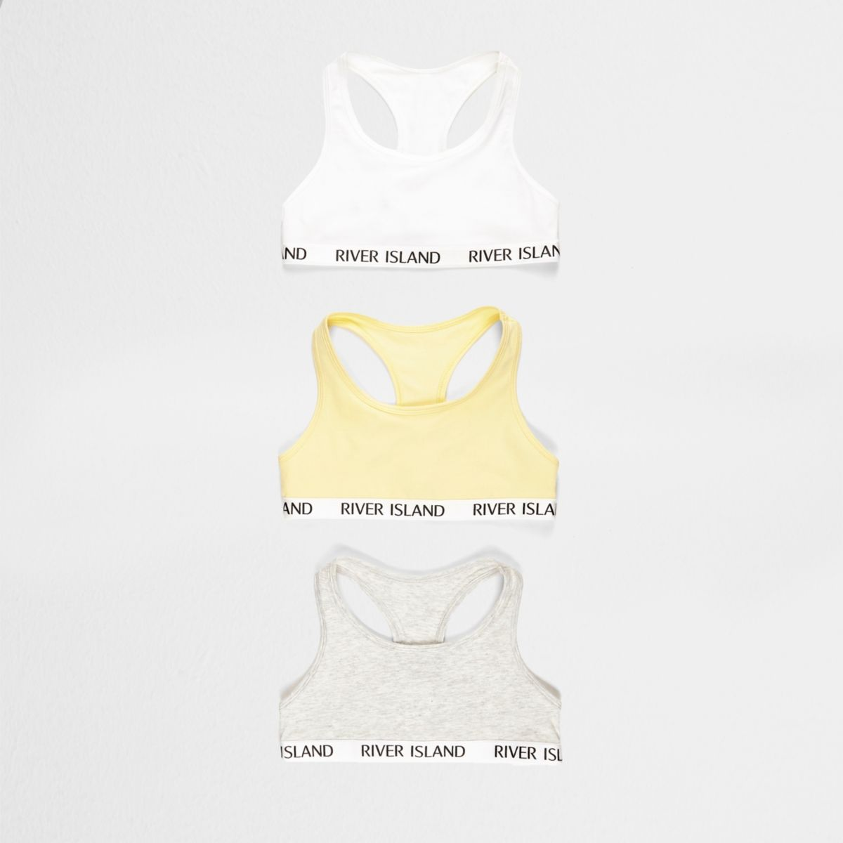 Girls yellow racer back crop top multipack
