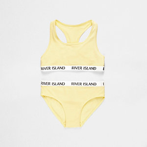 Girls yellow racer crop top and knickers set