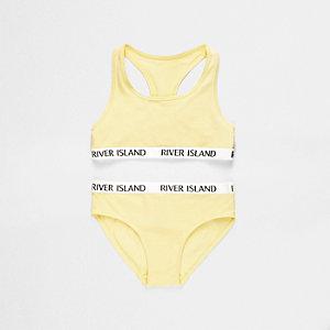 Set met gele crop top met racerback en broekje voor meisjes