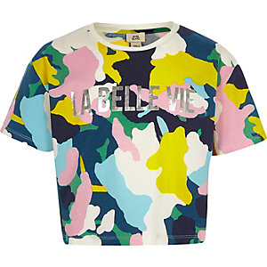 Girls navy multicolour camo cropped T-shirt