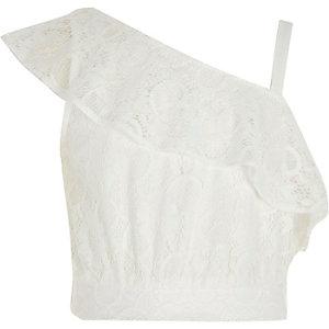 Crop top asymétrique en dentelle blanche pour fille