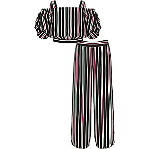 Girls stripe top and wide leg trousers outfit