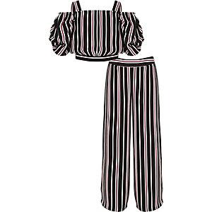 Outfit met gestreepte top en broek met wijde pijpen voor meisjes