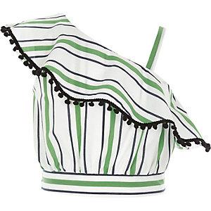 Crop top à rayures vert avec volant à pompons fille