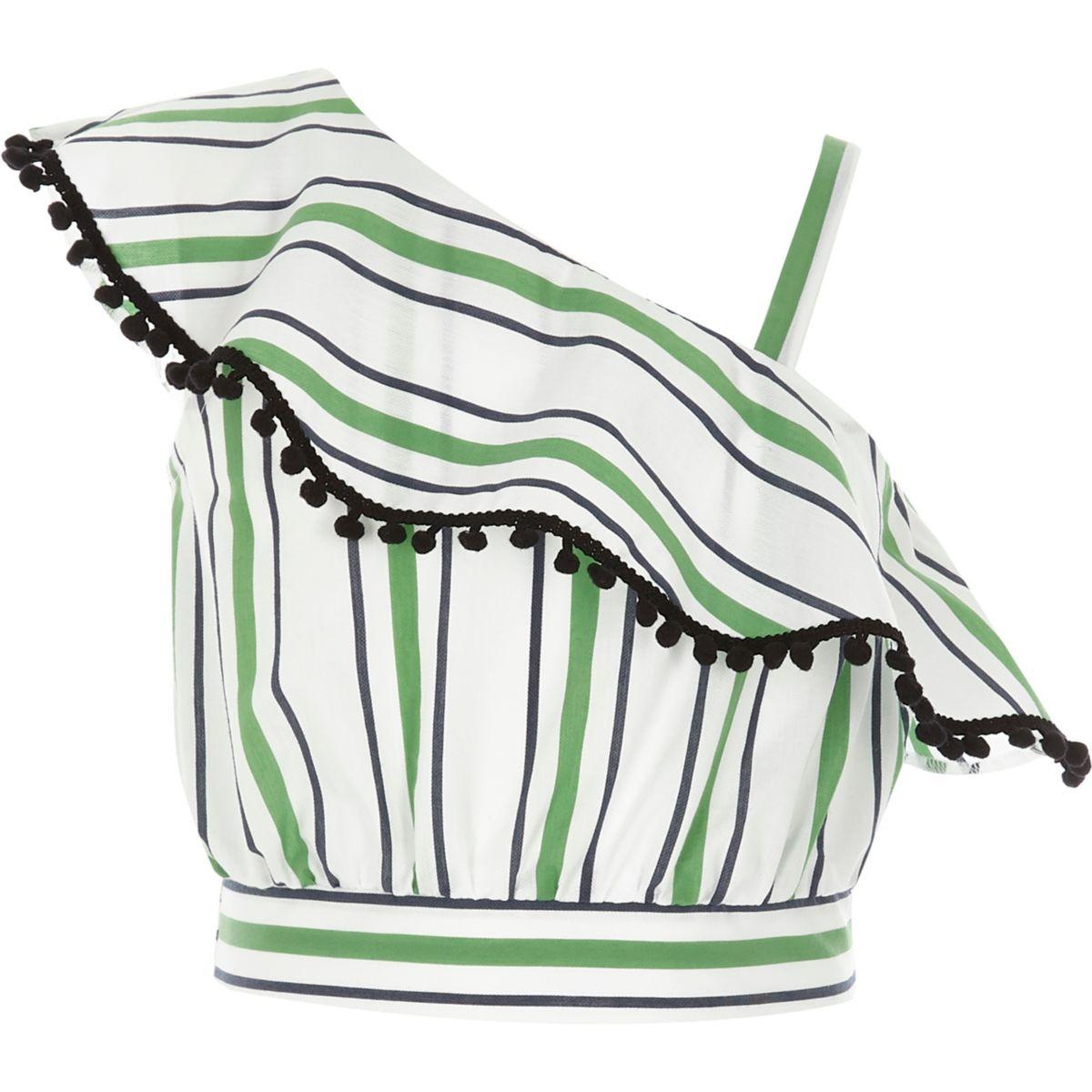 Girls green stripe pom pom frill crop top